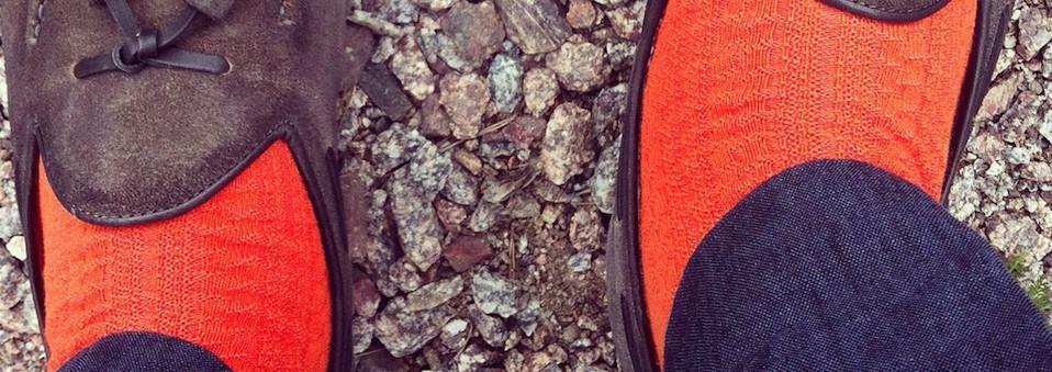 Santoni suede tassel loafers with orange socks