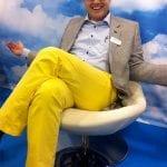 Oscar Softwaren myyntijohtaja Jarno Lahtinen iloitsi messuasusteistaan