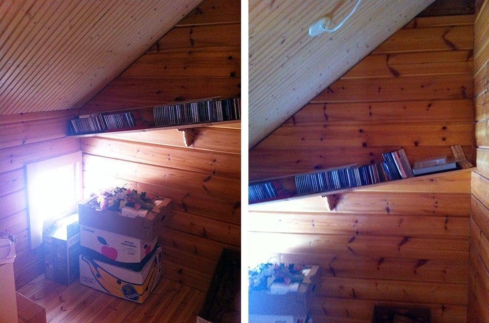 Näkymä vaatehuoneen oviaukosta näyttää miten katto laskee voimakkaasti..