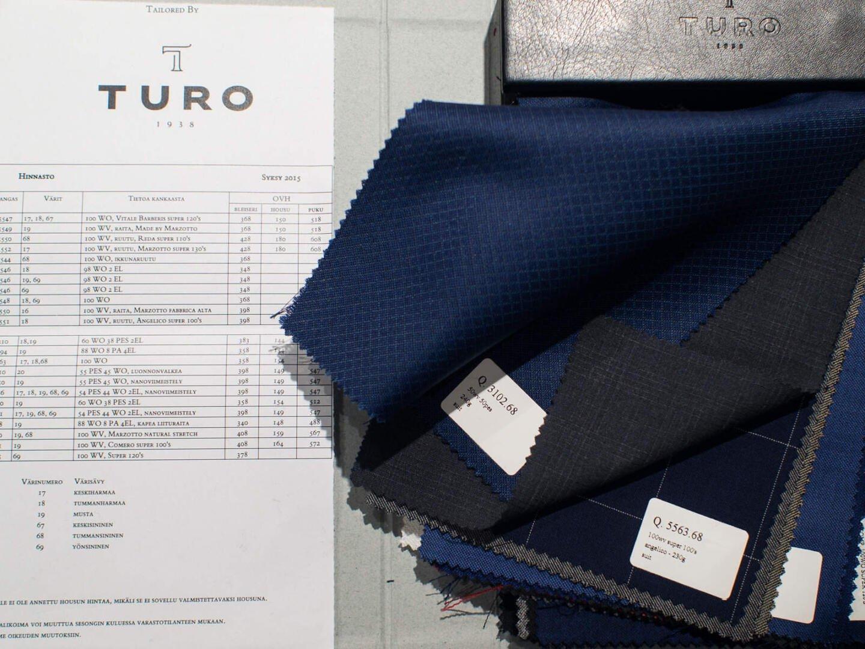 Turo tarjoaa myös kustomoituja pukuja. Voit tilata haluamasi pukumallin haluamallasi kankaalla.