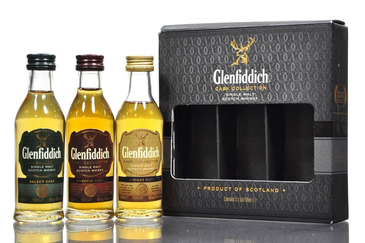 Glenfiddich Cask Collection. Tulen myös miniatyyreinä lahjaboksissa.