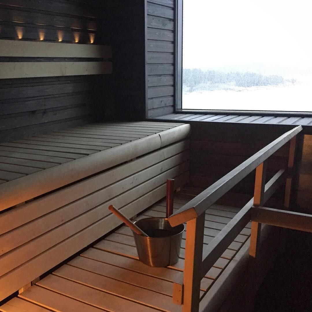 Viking Gracen saunaosasto merinäköalalla.