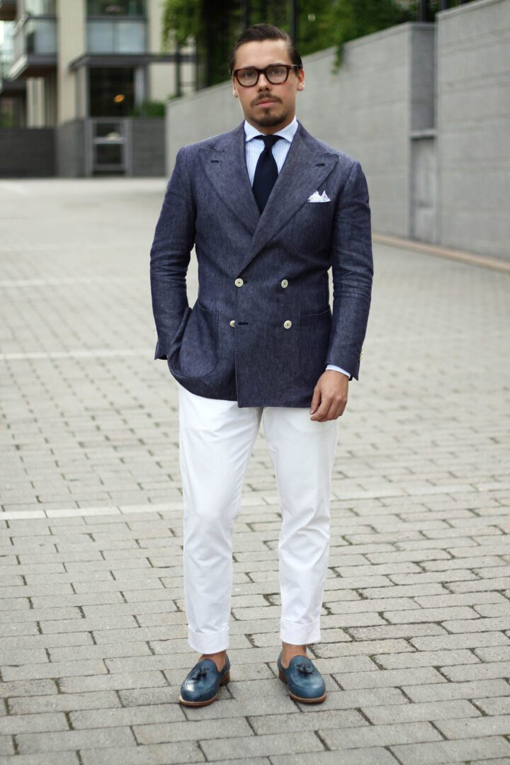 dla-denim-blazer-with-white-trousers