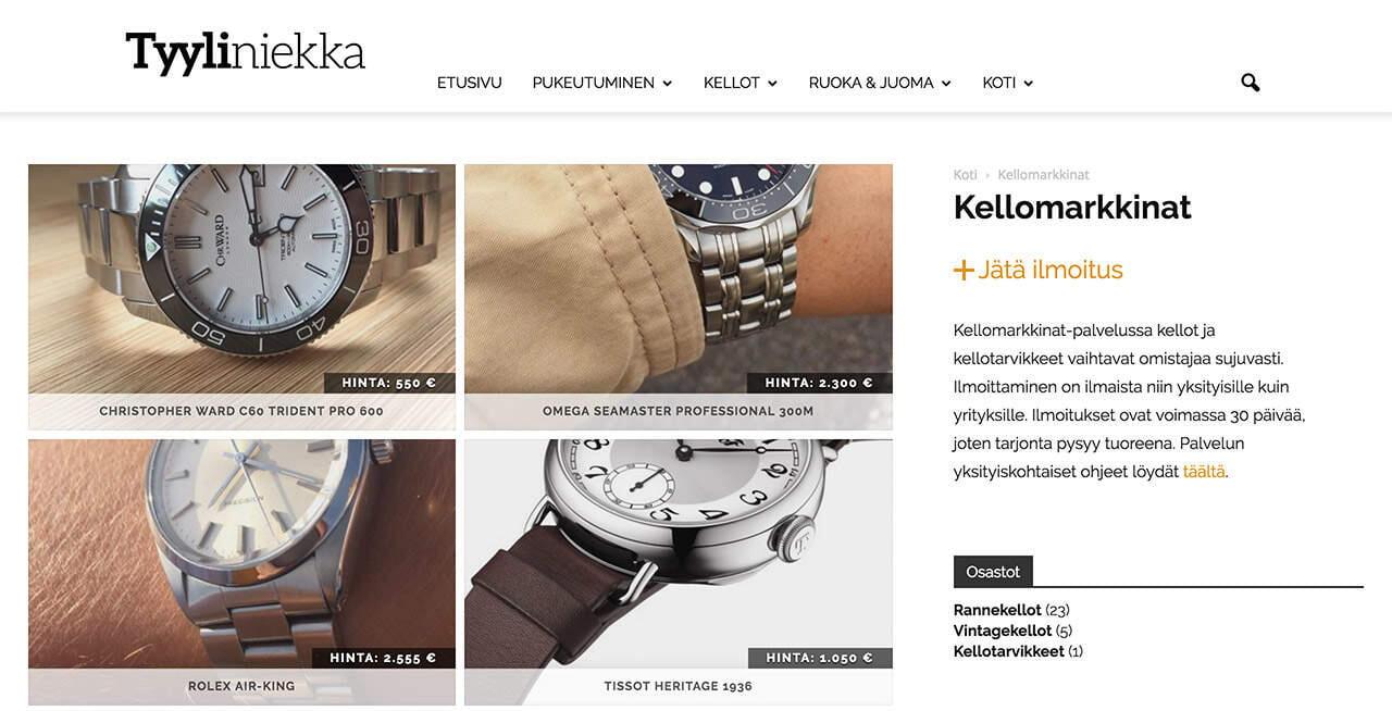 Kellomarkkinat on Tyyliniekan ylläpitämä kauppapaikka, jossa kellot todistettavasti käyvät kaupaksi.