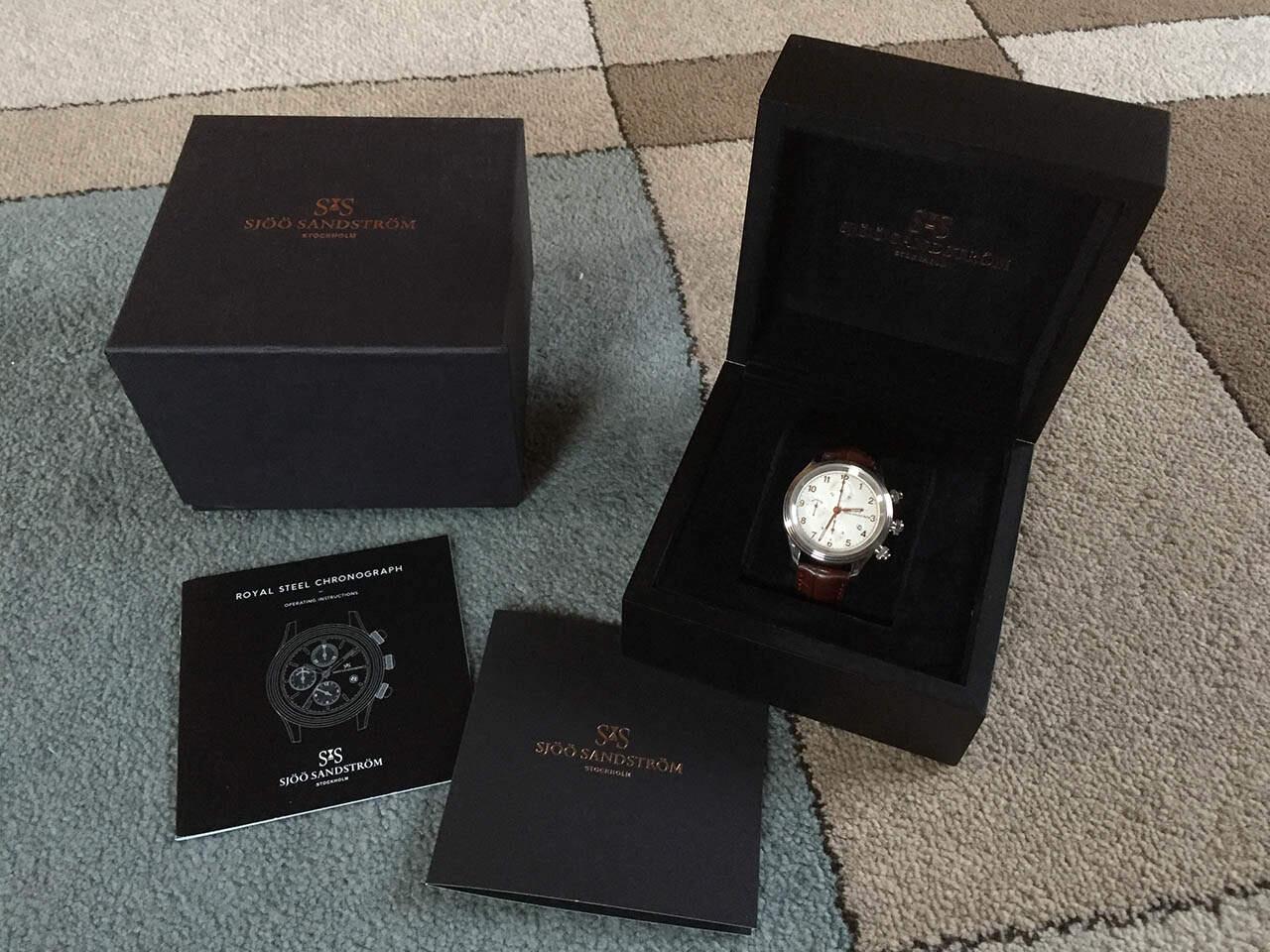 Sjöö Sandström Royal Steel Chronograph -kellon fullset.
