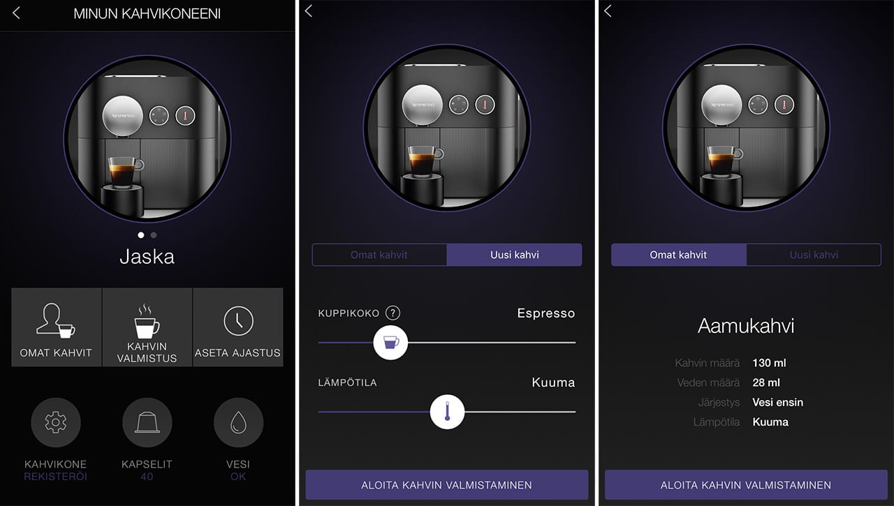 Nespresso Expert -kahvikoneen mobiiliapplikaatio