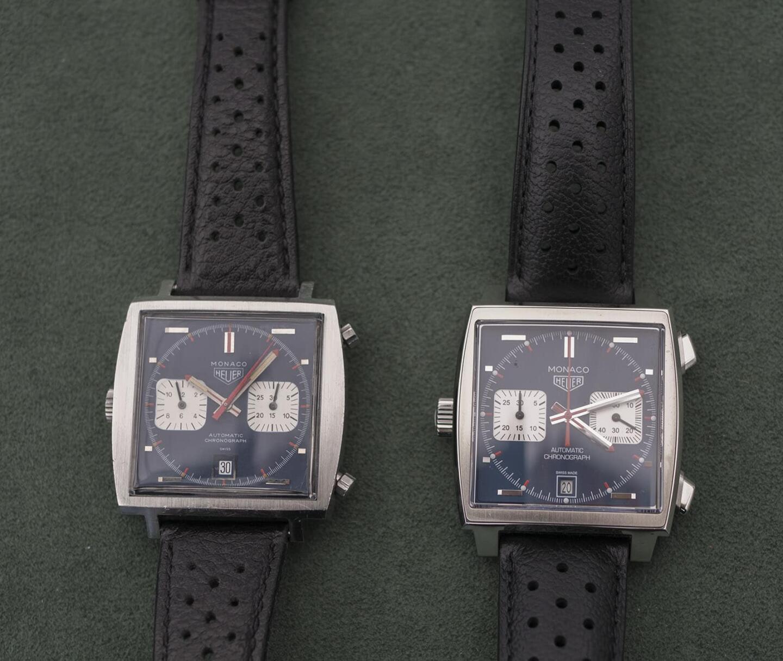 Vasemmalla originaali vuonna 1969 valmistettu Heuer Monaco 1133B ja oikealla uusin versio - Calibre 11.