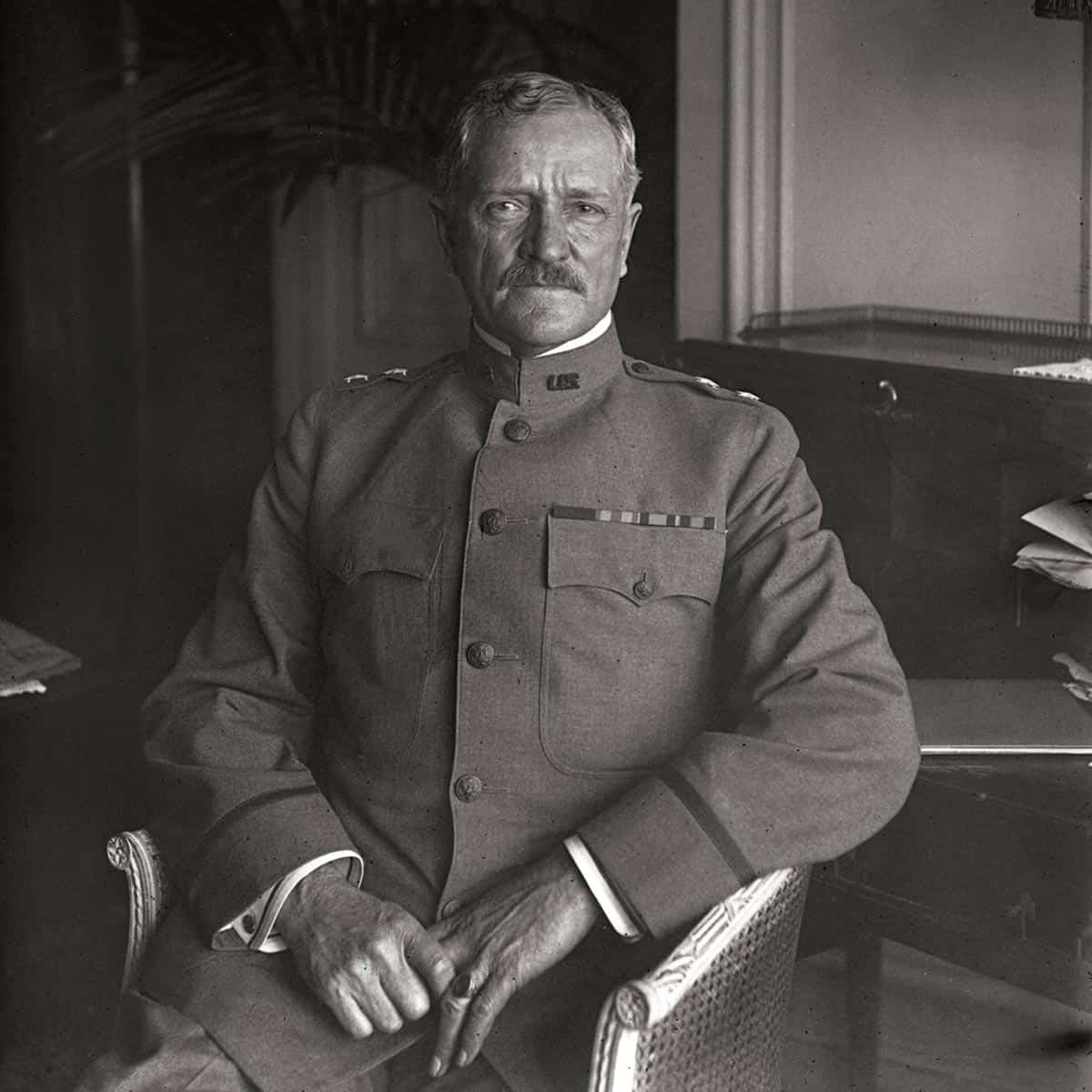 circa 1917: US General John Pershing (1860 - 1948) nick-named Black Jack, Commander-in-Chief of the US Expeditionary Force in Europe during World War I. (Photo by Topical Press Agency/Getty Images)