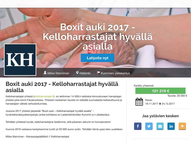 Kelloharrastajien Lastenklinikoiden Kummien keräys ylitti sadantuhannen euron rajapyykin