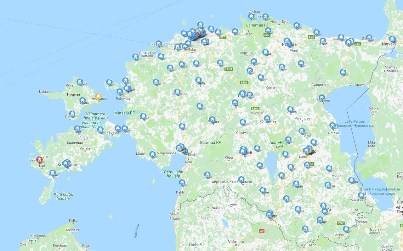 Jokamies Sähköauton lataus Virossa Kartta