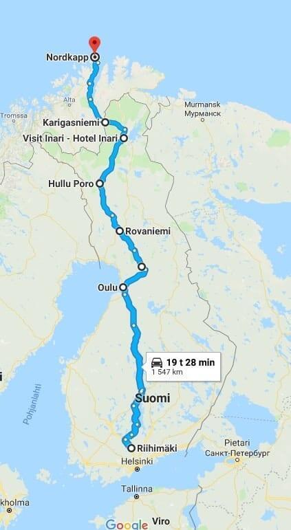 Jokamies-Teslalla-talvella-Nordkappiin-Reitti