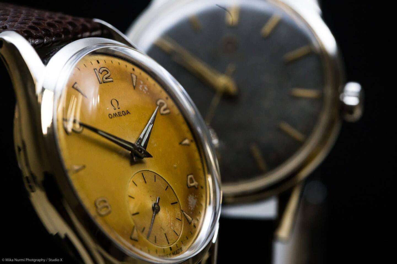 Omegan vintage-kelloja.