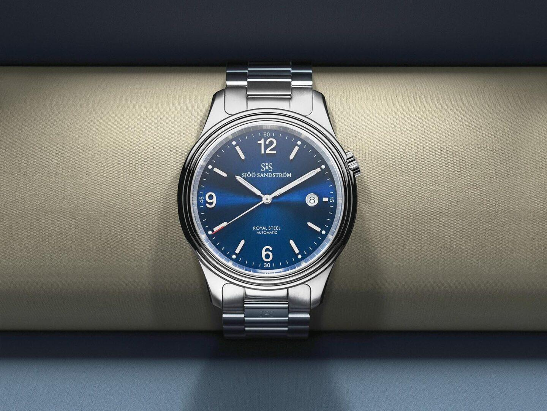 Sjöö Sandstrom Royal Steel Classic 41 mm - sininen kellotaulu