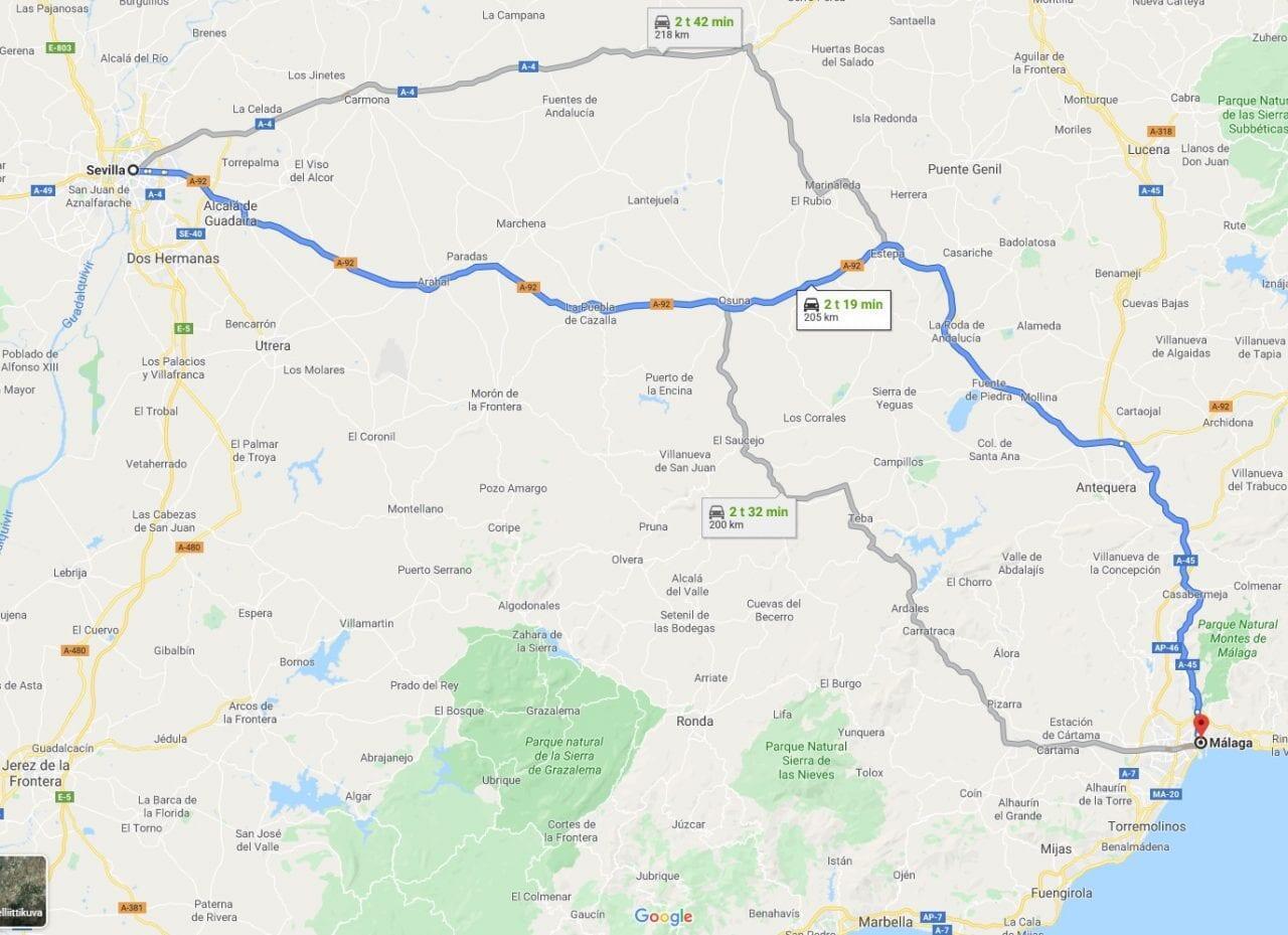 Jokamies - Costa Del Sol Autolla - Sevilla - Kartta paluumatka