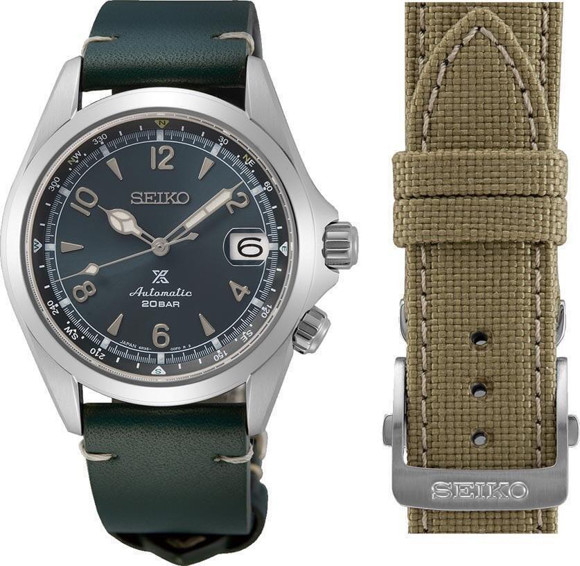 Seiko Alpinist European LImited Edition toimitetaan kahdella tyyliltään erilaisella rannekkeella.