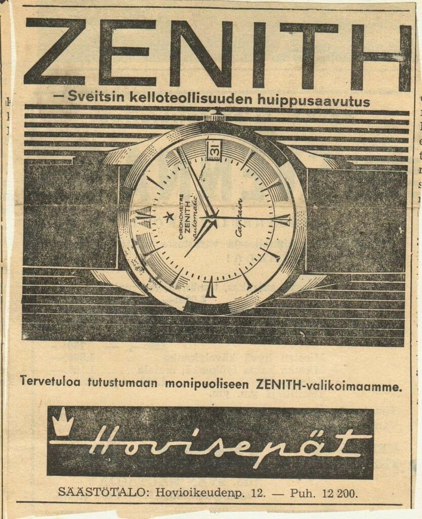 Zenith-lehtimainos, Hovisepät